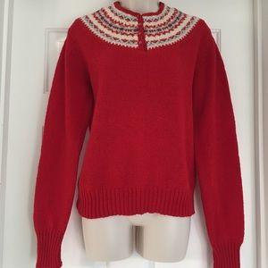 Susan Bristol Vintage Red Fair Isle Sweater